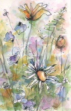 pen and ink with a watercolor wash Watercolor Paintings For Beginners, Watercolor Projects, Pen And Watercolor, Abstract Watercolor, Watercolor Illustration, Watercolor Flowers, Watercolor Landscape, Simple Watercolor, Tattoo Watercolor