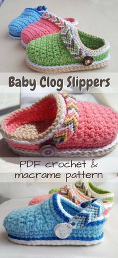 Such a sweet baby slipper pattern, mostly crocheted, but with a macrame (friendship bracelet-style) back strap! soft little handmade crocs! An adorable gift idea! Crochet Crafts, Crochet Projects, Knit Crochet, Yarn Crafts, Decor Crafts, Diy Projects, Diy Crafts, Crochet Baby Booties, Crochet Slippers