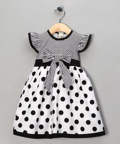 Maggie Peggy Black Polka Dot Stripe Dress - Toddler & Girls   zulily