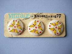 SALE butterfly button trio by VINTAGEhaberdashery on Etsy, $10.00