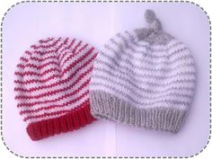 Simple striped baby hat  scroll down for english