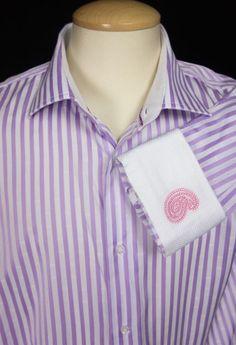 ROBERT GRAHAM Mens Dress Shirt 18.5 XXL 47 Purple White Embroidered Long Sleeve #RobertGraham