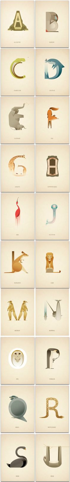 London-based artist Marcus Reed imagined this beautiful alphabet using wildlife to make the shape of the letters. Each animal corresponds to his first letter, offering to learn while having fun. A successful graphic process, that will delight young and old. - http://www.marcusreed.com/animalalphabet2.html