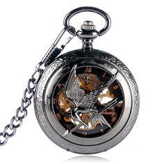 SHUHANG Vintage Black Hunger Game Bird Mechanical Pocket Watch Men Women Hand Wind Skeleton Clock Steampunk Chain Gift 2017