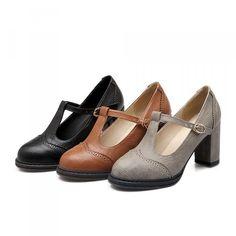 Retro T-Strap High Heel Shoes