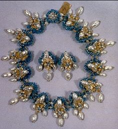 Vintage Miriam Haskell Beaded Necklace and earrings