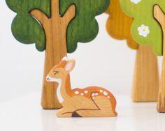 Wooden reindeer toy Wild Animal toys Play set by WoodenCaterpillar