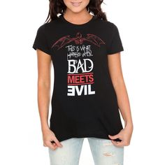 GIRLS ($21) ❤ liked on Polyvore featuring t-shirts, shirts, bad meets evil and eminem