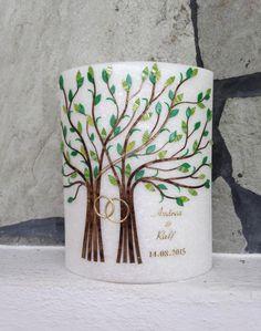 """Stearin-Hochzeitskerze+""""Zwei+Lebensbäume""""++von+Hänsel+&+Gretel+Candleart+auf+DaWanda.com"""