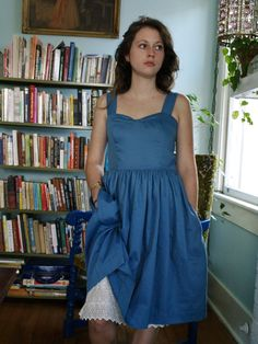 sateen cotton sundress with attached eyelet by THREADBEAT on Etsy