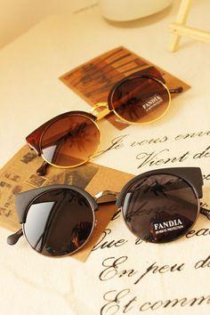 2016 Woman Brand Designer Semi-Rimless Vintage Cat Eye Sunglasses Round Retro Sun Glasses For Women Oculos De Sol Feminino Gafas