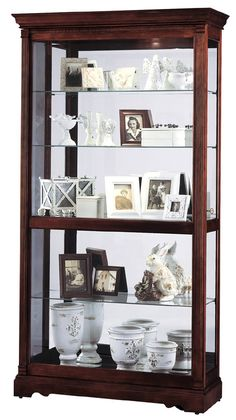 Windsor Cherry Finished Wood Curio Display Cabinet W Mirrored Back