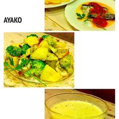 暑くて、火を使わない料理ばかり…(^^;; - 139件のもぐもぐ - オイルサーディンのサルサソースかけ、じゃがいもとタコ、ブロッコリーのサラダ、冷製コーンスープ by ayako1015