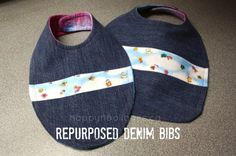 Repurposed denim bibs: Great baby gift that costs you nothing to make.  Made from the leg of an old pair of jeans and and backed with an old tee shirt. (HAPPY HOOLIGANS)