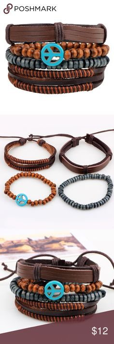 """4 pieces a set Fashion Jewelry Bracelets Vintage Peace sign Bracelets  Feature: fashion, vintage, peace sign Material: leather, coconut beads, braid belt  Specifications: 2.5"""" in dia, 7""""-8"""" in length, adjustable size  Makes a great gift for friend and family or self purchase Jewelry Bracelets"""
