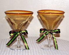 Martini Wedding Glasses / Toasting Glasses by CarolesWeddingWhimsy, This set of 2 Martini Wedding Toasting Glasses are for the couple who loves martini.  They are fabulous Fall Wedding Decoration, Brown and Sage Green Wedding Decoration AND, they also can function as a votive candle holder.  You can find them at  https://www.etsy.com/listing/193682779/martini-wedding-glasses-toasting-glasses