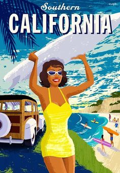 Southern California Beach Ocean Surf United States Travel Advertisement Poster in Posters | eBay