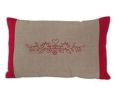 Coussin coton chambray brodé, beige et rouge – 30*50