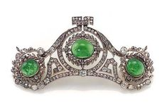 ❤ - Victorian Reproduction 8.14ct Diamond & Emerald Tiara From Wedding Jewelry