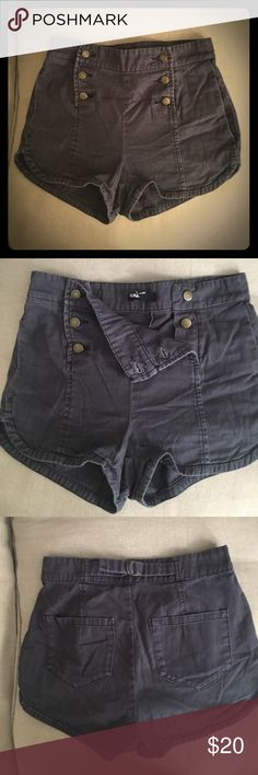 BDG High-rise cotton shorts BDG high-rise short shorts in a ashy navy color from urban outfitters. In new like condition!Great to wear with a crop top or tank top tucked it! Size 0 .. Fits a 25 BDG Shorts Jean Shorts