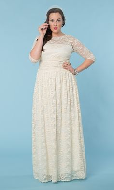 Lace Illusion Wedding Gown at Kiyonna Clothing : Perf, except i'd want to add more solid under :)