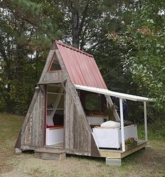 """A Frame """"relax shack,"""" just $1200. Add a compostable toilet out house and it's the perfect cabin retreat."""