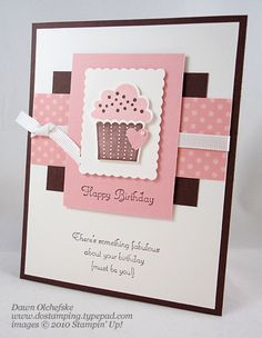 Birthday Cupcake by dostamping - Cards and Paper Crafts at Splitcoaststampers; blushing bride, white and early espresso; scallop rectangle clearlit