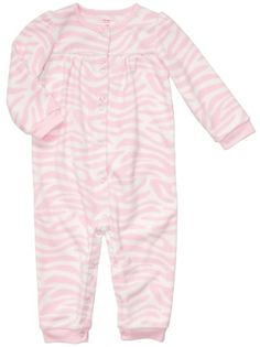 Carter s Infant Long Sleeve One Piece Fleece Coverall - Zebra Print 9 months  pink b10ee4a0f