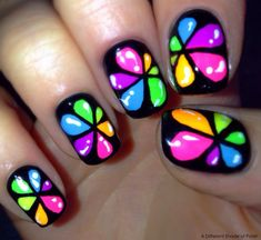 20 Nail Art Designs For Unique Look This Spring – Summer Rainbow Nails, Neon Nails, Diy Nails, Glitter Nails, Flower Nail Designs, Nail Art Designs, Nails Design, Funky Nail Designs, Fancy Nails