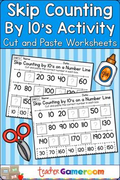 Skip Counting vy 10s cut and paste activity. Great worksheet for home school and distance learning. Math Activities, Teacher Resources, Teaching Ideas, Second Grade Math, Sixth Grade, Math Skills, Math Lessons, Learning Games, Student Learning