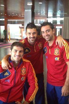 Iker Casillas ,David Villa And Xavi Hernandez