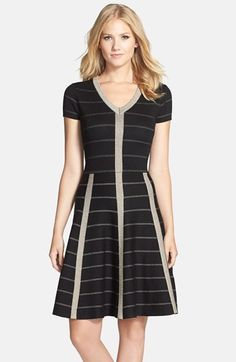 Free shipping and returns on Gabby Skye Metallic Fit & Flare Sweater Dress at Nordstrom.com. Metallic stripes and cage details add glamour to a comfy sweater-dress fashioned with a banded V-neck and flirty full skirt.