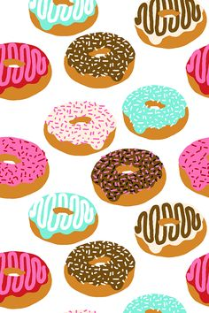 Doughnuts by charlottewinter. Pink, turquoise, chocolate and sprinkles! Colorful doughnuts pattern available in fabric, wallpaper, and gift wrap.