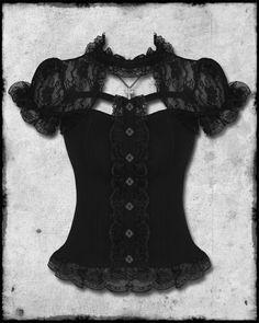 HELL BUNNY BLACK LACE STEAMPUNK GOTHIC LOLITA SHORT SLEEVE NIHILIST CORSET TOP | eBay