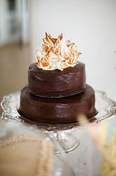 Chocolate cake with meringue top - (looks like a campfire) Christina Brosnan