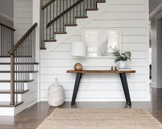 Modern Farmhouse- shiplap, with wood table and wood on the stairs in neutral colors. Style At Home, Home Renovation, Home Remodeling, Home Interior, Interior Design, Farmhouse Interior, Sweet Home, Ship Lap Walls, My Dream Home
