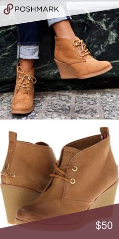 """Sperry Top- Sider """"Harlow"""" Wedge Heel Booties Perry Top-Sider Lace up wedge heel booties. Like new, little to no signs of wear. Sperry Top-Sider Shoes Ankle Boots & Booties"""