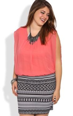 Deb Shops Plus Size Sleeveless Blouson Dress with Tribal Printed Banded Skirt $32.17