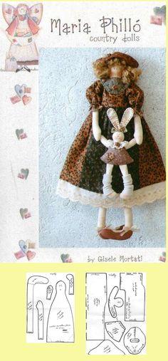 Doll and bunny pattern Doll Patterns Free, Doll Sewing Patterns, Sewing Dolls, Doll Clothes Patterns, Doll Crafts, Diy Doll, Bear Doll, Waldorf Dolls, Fairy Dolls
