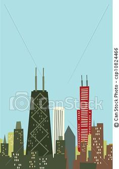Stock Illustration - Cartoon Chicago Skyline - stock illustration, royalty free illustrations, stock clip art icon, stock clipart icons, logo, line art, pictures, graphic, graphics, drawing, drawings, artwork