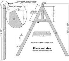 swing set support frame plan side elevation