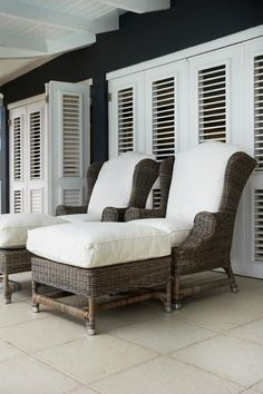 Large wicker chairs.