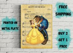 Beauty And The Beast Disney Music Art Metal Print-Disney Wall