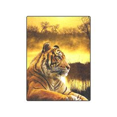 """Tiger and Sunset Fleece Blanket 50""""x60"""". Machine washable. FREE Shipping. FREE Returns. #blankets #tigers"""