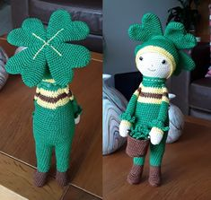 Four-Leaf Clover Klaus is a lucky clover. Made by Marijke K - crochet pattern by Zabbez