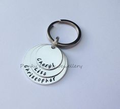 Personalised three stacked circle keyring  by PFJewelleryshop