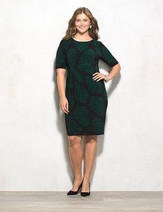 db Signature Plus Size Scroll Print Sadie Dress from dressbarn