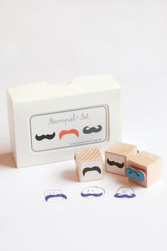 Lovely!  Rubber Stamps Moustache Parade Set of 3 by sonstnochwas on Etsy, €10.00