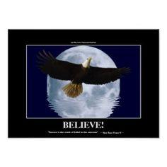 "Flying Eagle & Moon ""Believe!"" Motivational Art Print"