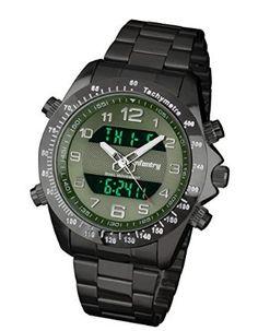 INFANTRY Men's Analog Digital Quartz Wrist Green Watch with LCD Black Stainless Steel Bracelet